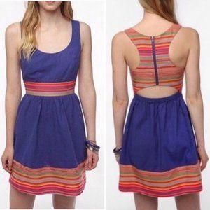 STARING AT STARS Rainbow Trim Cobalt Linen Dress